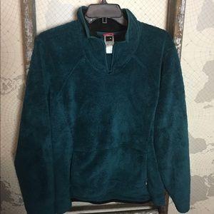 TNF blue green pullover fleece XL